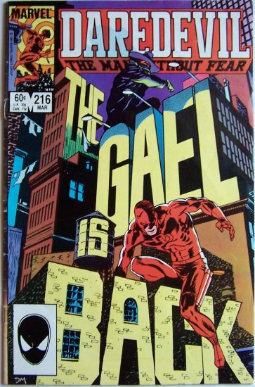 Daredevil The Man Without Fear Comic Book - No. 216 Mar 1985