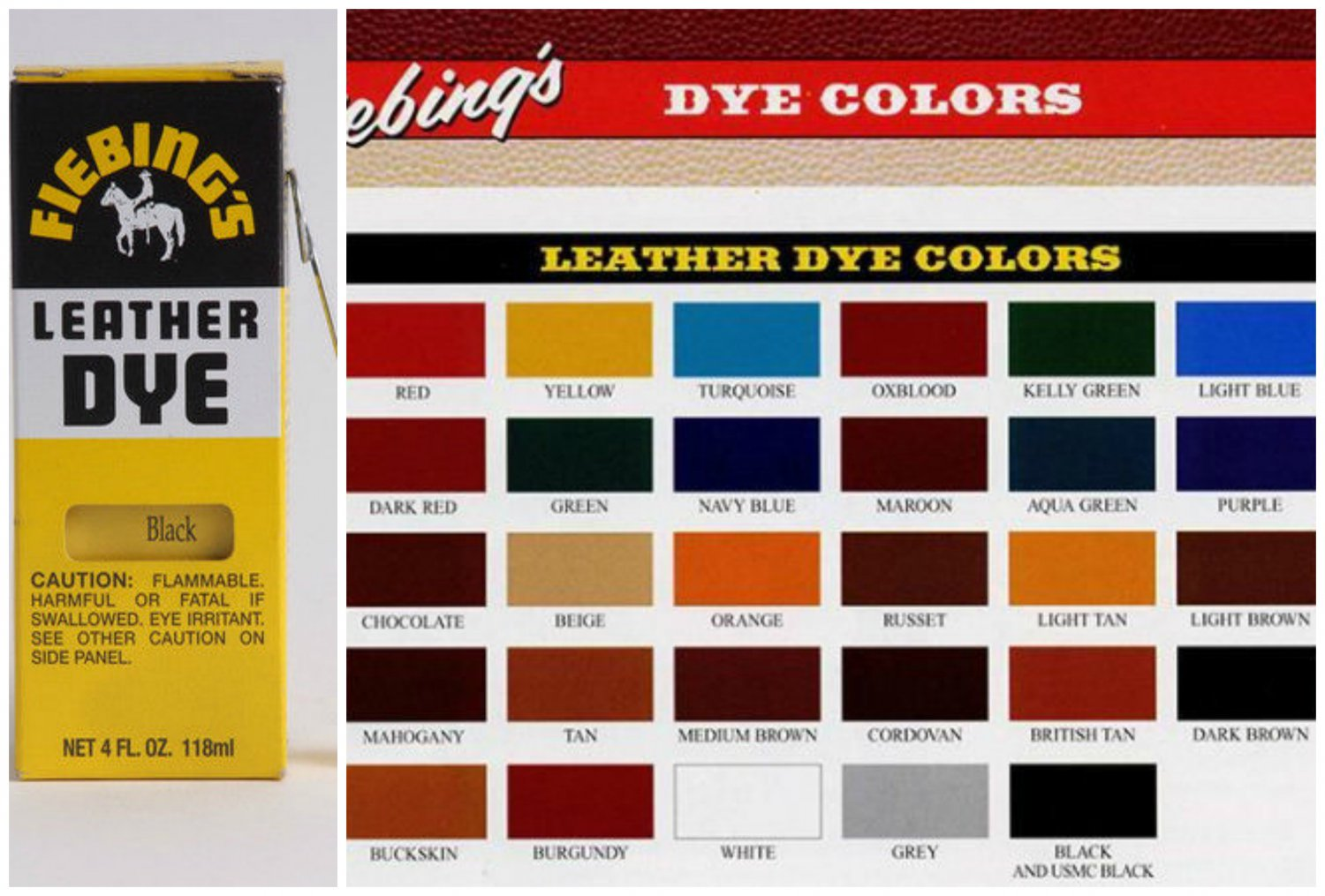 Fiebings Leather Dye 4 oz. with Applicator Shoes Boots Bag Yellow Color