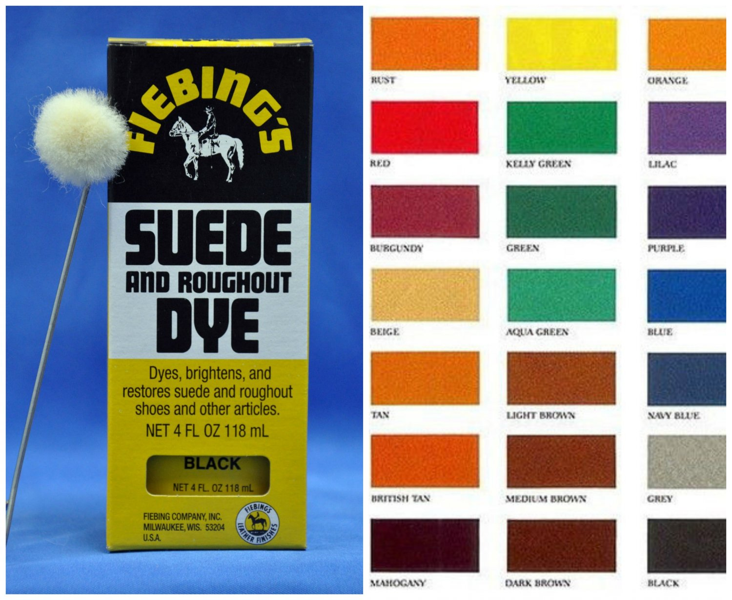Fiebings Suede & Roughout Dye with Applicator Nubuck Leather Shoes Boots Bag 4oz Tan Color