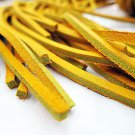 """(1 Pair) 45"""" Rawhide Leather Shoe Boot Laces Shoelaces 1/8"""" Width Timberland Yellow Color"""