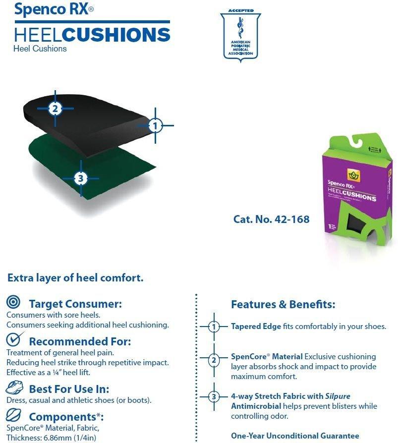 Spenco Rx Heel Cushions 42-168 Women's 8-10 Size Medium Insoles Inserts