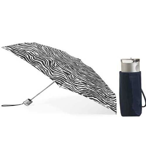 Totes Isotoner 8601 Micro Mini Umbrella Manual Rain Travel Purse Bag Zebra Color