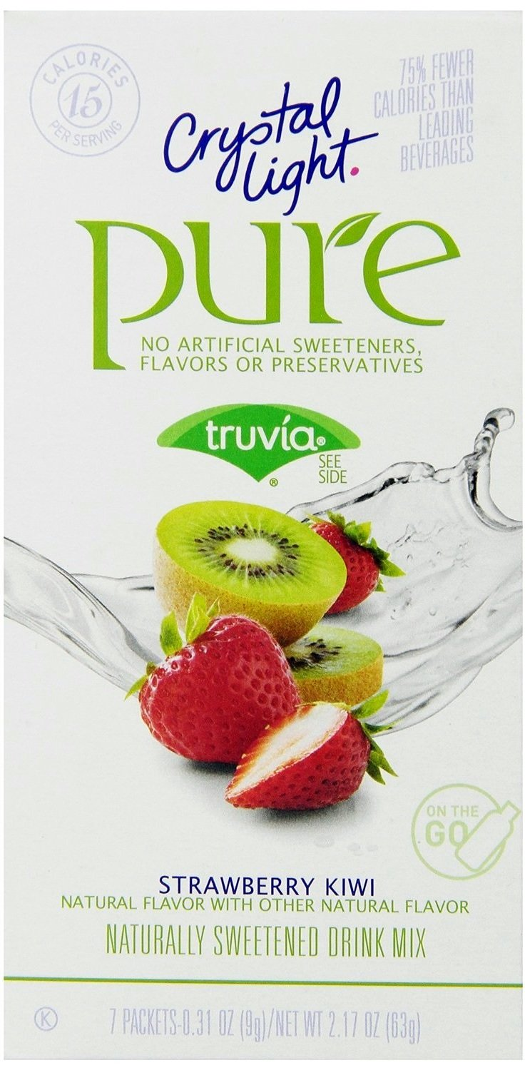 12 7-Packet Boxes Crystal Light Pure Strawberry Kiwi On The Go Drink Mix
