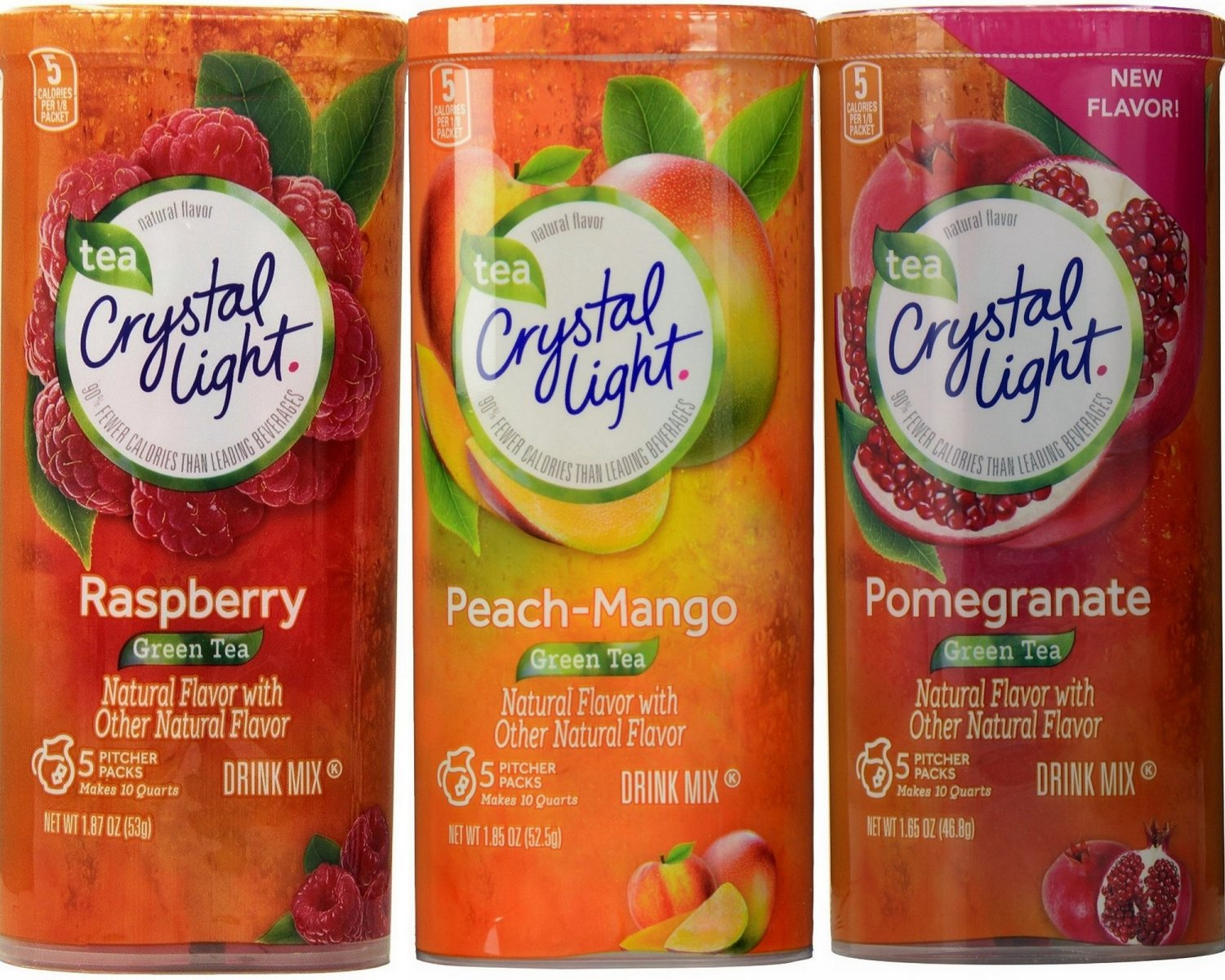 Crystal Light Green Tea Drink Mix Variety Pack 3 Flavors, 2 Canisters Each Flavor, 6 Canisters Total