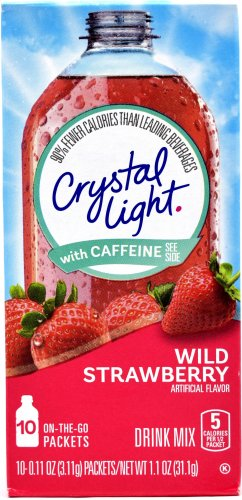 10 10-Packet Boxes Crystal Light Wild Strawberry With Caffeine On The Go Drink Mix
