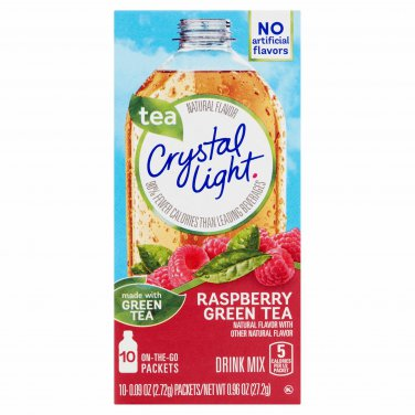 10 10-Packet Boxes Crystal Light Raspberry Green Tea On The Go Drink Mix
