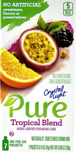12 7-Packet Boxes Crystal Light Pure Tropical Blend On The Go Drink Mix