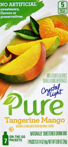 12 7-Packet Boxes Crystal Light Pure Tangerine Mango On The Go Drink Mix