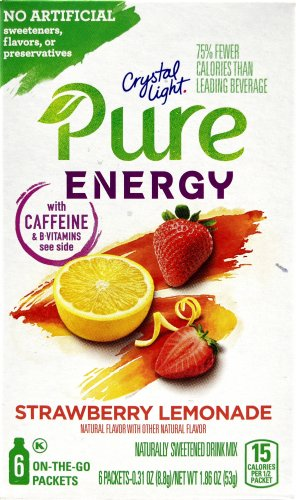 12 6-Packet Boxes Crystal Light Pure Energy Strawberry Lemonade On The Go