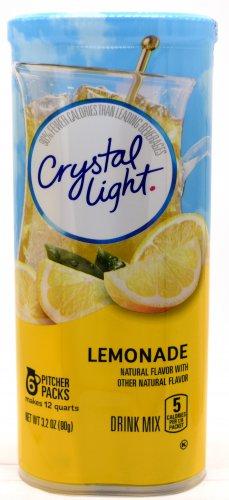 6 12-Quart Canisters Crystal Light Natural Lemonade Drink Mix