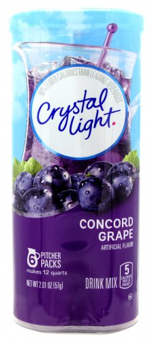 6 12-Quart Canisters Crystal Light Concord Grape Drink Mix