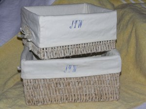 Personalized embrodiery basket liner