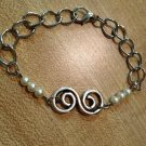 Bracelet- Silver S Spiral charm with Faux Pearls, Chain and Lobster Clasp
