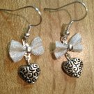 Earrings- Silver-plated mesh bows with Silver etched heart dangle