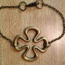 Bracelet- Antique Brass Chain with Antique Brass Clover Charm
