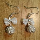 Earrings- Silver-plated mesh bows with Wire bundle bead dangle