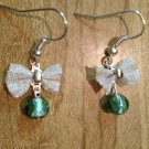 Earrings- Silver french hooks with Silver plated mesh bows and teal glass bead dangle
