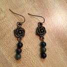 Earrings- Nickel-Free hooks, Antique Brass flower findings with mixed neutral sphere beads