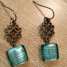 Earrings- Nickel-Free hooks with Antique Brass Swirled metal diamond finding with teal glass dangle