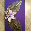 Cell Phone- Iphone 4-4s Hard Case- Deep Purple with Brass Leaves and  printed Flower