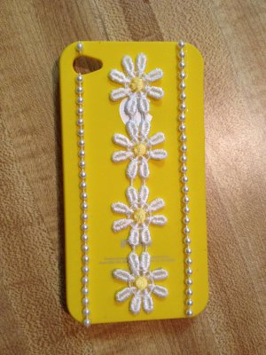 Cell Phone Couture- Iphone 4-4s Hard Case- Yellow with White Flowers, Lace and Rhinestones