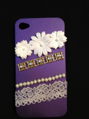 Cell Phone Couture- Iphone 4-4s Hard Case- Purple with White Flowers and Lace