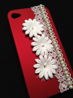 Cell Phone Couture- Iphone 4-4s Hard Case- Red with White Flowers and White Lace, Pearls