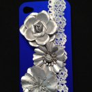 Cell Phone Couture- Iphone 4-4s Hard Case- Royal Blue Owl with Silver Flowers and Lace