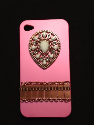 Cell Phone Couture- Iphone 4-4s Hard Case- Pink with Turquoise Pendant and Vintage Copper Chain