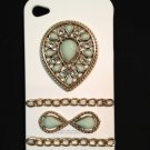 Cell Phone Couture- Iphone 4-4s Hard Case- White with Turquoise Pendant and Copper Chains
