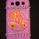 Cell Phone Couture- Samsung Galaxy S III Hard Case- Purple with Orange Flower Cirle and Chains