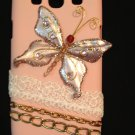 Cell Phone Couture- Samsung Galaxy III Hard Case-Light Pink Case with pink butterfly and white lace