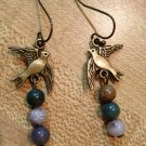 Earrings- Nickel-Free Antique Brass hooks, Antique Brass bird, mixed neutral sphere beads