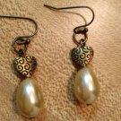 Earrings- Nickel-Free Antique Brass hooks Antique brass etched heart findings w- teardrop pearls
