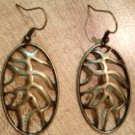 Earrings- Antique Brass french hooks with Lobster Closure, Antique brass oval tree root finding