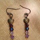 Earrings- Nickel-Free Brass  hooks,  brass etched hearts w-  Purple Swarovsky Beads