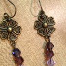 Earrings- Nickel-Free Brass hooks, Brass Vintage Flower w- Purple Swarovsky beads