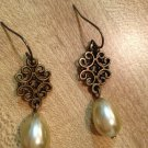 Earrings- Nickel-Free hooks with Antique Brass Swirled metal diamonds with teardrop pearl