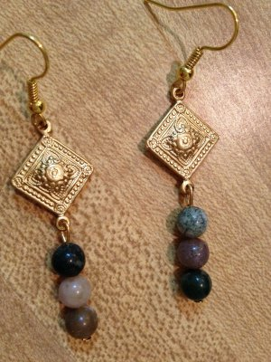 Earrings- Gold French hooks, Gold metal diamond findings with mixed neutral sphere beads