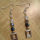 Earrings- Silver hooks with Gray Swarovsky beads w- double rectangles