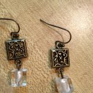 Earrings- Nickel-Free Hooks, Antique Brass Squares w- Clear glass cube
