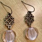 Earrings- Nickel-Free hooks with Antique Brass Swirled metal diamonds w- Soft Pink Glass Rounds