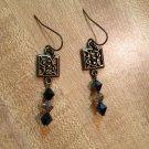 Earrings- Nickel-Free Hooks, Antique Brass Squares  w- Black/Gray Swarovsky Beads