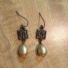 Earrings- Nickel-Free Hooks, Antique Brass Square w-Tear Drop Pearls