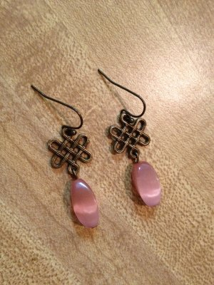 Earrings- Nickel-Free Antique Brass hooks, Antique brass lattice w- pink ovals