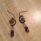 Earrings-Nickel-Free Brass French hooks, brass Spirals with Purple Swarovsky beads