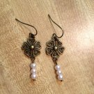 Earrings- Antique Brass Vintage Flower Findings with 3 Soft Pink Pearl Dangle