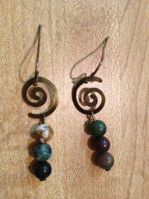 Earrings-Nickel-Free Brass hooks, brass Spirals with mixed neutral beads