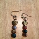 Earrings- Antique-Brass Etched Heart with Multi-Colored Neutral Sphere Dangle