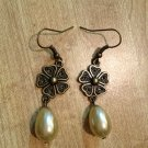Earrings- Antique Brass Vintage Flower Findings with Cream Tear Drop Pearls